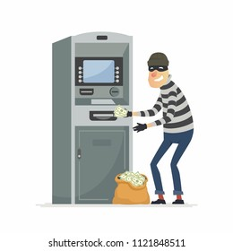 Thief stealing money from ATM- cartoon people characters illustration isolated on white background. An image of a criminal in a mask breaking a cash machine, putting money to a sack