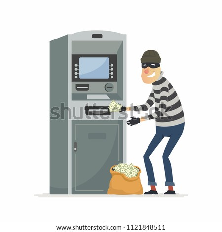 Thief stealing money from
