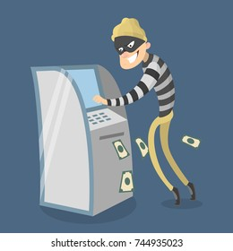Thief stealing money from atm. Money crime.
