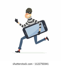 Thief stealing smartphone - cartoon people characters illustration isolated on white background. High quality composition with a criminal in a mask running with a big stolen gadget