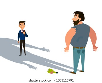 A thief steals a kidnapped child. The concept of child abduction. Vector illustration in cartoon style.