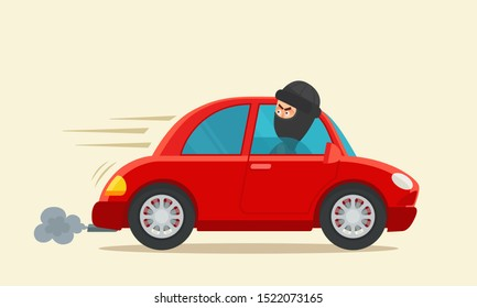 Thief stole a car. Vehicle stealing. Criminal in black balaclava drive away on stolen  car. Vector illustration, flat design, cartoon style. Isolated background.