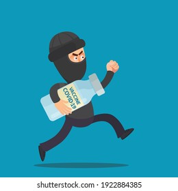 A thief stole a coronavirus vaccine from a hospital. A black-robed criminal run away from clinic and holds a stolen COVID-19 vaccine in hand. Vector illustration, flat design, cartoon, isolated.