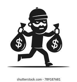 Thief stole the money. Robber icon. Bandit.