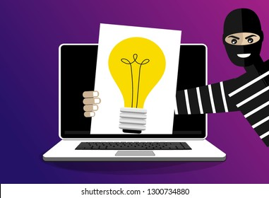 Thief stolen light bulb of idea. Steal idea concept. Cartoon Vector Illustration.