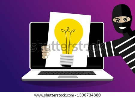 Thief Stolen Light Bulb Idea Steal Stock Vector (Royalty
