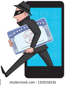 A thief takes advantage of an unsecured network to steal personal information from a phone.