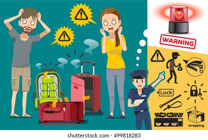 Thief are tamper tourist luggage in Airport. Suggestion safety loading the luggage into the plane.