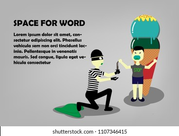 Thief try to stealing ice cream from kid. The boy resist thief to protect ice-cream. Cartoon design for vector.