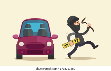 Thief unscrewed the license plate from the car and stole it. Theft in black clothes and balaclava on head runs holding a stolen license plate in hand. Vector illustration flat cartoon style, isolated.
