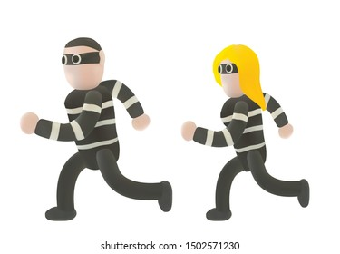 Thieve or crime or bandit in running action Art