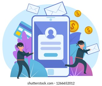 Thieves steal personal, private data. Two thieves stand near big smartphone. Poster for web page, banner, presentation, social media. Flat design vector illustration