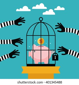 Thieves stealing money from piggy bank. Piggy bank protection design illustration.  Economic depression, corrupt practices, business strategy vector concept