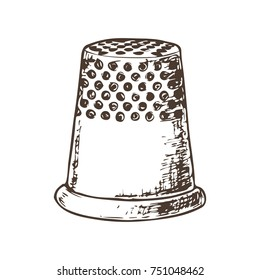 Thimble for sewing, sketch illustration of accessories for sewing. Vector