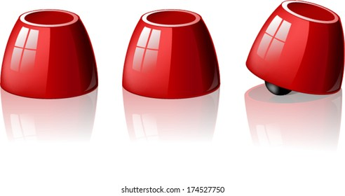 Thimblerig, Shell game. Cups And Balls game with three red cups.