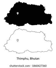 Thimphu Bhutan. Detailed Country Map with Location Pin on Capital City. Black silhouette and outline maps isolated on white background. EPS Vector