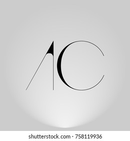 Thin abstract letters logos in highlight