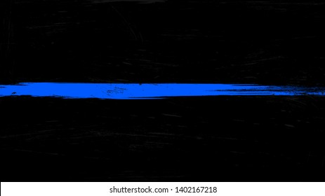 Thin blue line flag with grunge paint trace - a sign to honor and respect police, army and military officers.
