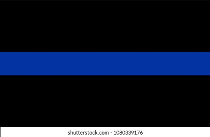 Thin blue line flag law enforcement symbol. American police flag vector. Symbol of remembering the fallen police officers on duty. Law and order. Devotion and dedication on workplace. ladle out honors