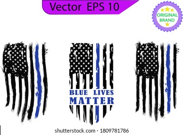 Thin blue line US flag. Flag with Police Blue Line - Distressed  and splash american flag