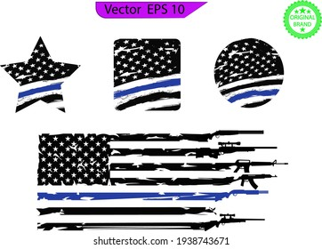 Thin blue line US flag. Flag with Police Blue Line - Distressed and splash American flag.  Flag with Police Blue Line, sheriff star. Transparent background