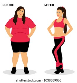 Thin and fat. Obesity. From fat to thin. Before and after. Healthy Lifestyle. The woman becomes thin. Isolated objects. Vector illustration.