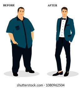 Thin and fat. Obesity. From fat to thin. Before and after. Healthy Lifestyle. The man becomes thin. Isolated objects. Vector illustration.