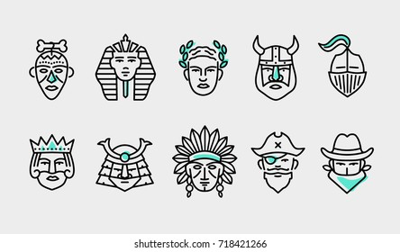 thin flat line modern icons set of heroes people, various head avatars of male power historical characters