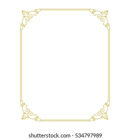 Thin gold beautiful decorative vintage frame for your design. Making menus, certificates, salons and boutiques. Gold frame on a dark background. Space for your text. Vector. illustration.