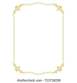 Thin Gold Beautiful Decorative Vintage Frame For Your Design. Making Menus,  Certificates, Salons