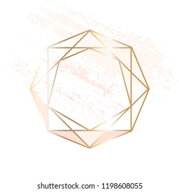 Thin gold crystal, rose, nude brush strokes on a white background.