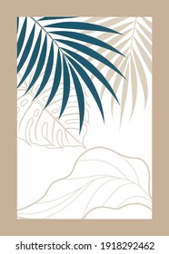 Thin gray-blue leaves on a white background in a beige frame