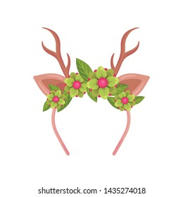 Thin hair band with horns and deer ears. Vector illustration on white background.