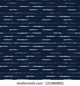Thin Hand Drawn Stripe Pattern Seamless Vector Pattern. Indigo Blue Grunge Stripe Background Texture Illustration for Trendy Home Decor, Masculine Fashion Prints, Japan Style Dye Wallpaper, Textiles.