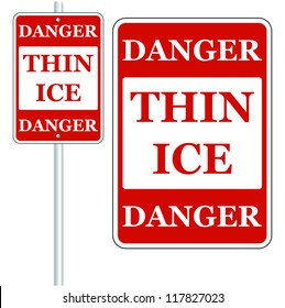 Thin Ice sign. Isolated on white Vector.