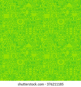 Thin Irish Line Saint Patrick Day Seamless Green Pattern. Vector Design and Tile Background in Trendy Modern Style. Thin Outline Holiday Art.