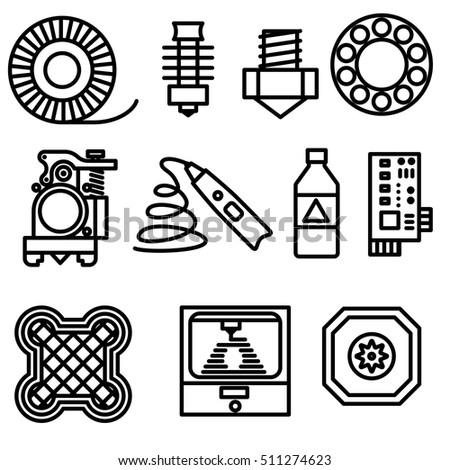 Thin Line 3 D Printing Web Icons Stock Vector Royalty Free