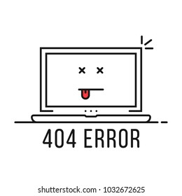thin line 404 error with dead emoji. concept of page not found or web site under construction or maintenance. linear flat minimal trend modern simple logo graphic design isolated on white background
