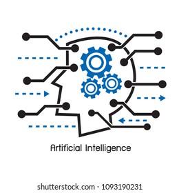 Thin line AI (artificial intelligence) icon.