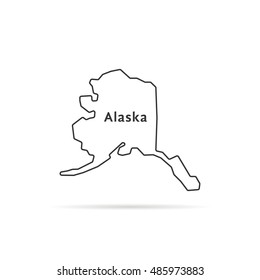 thin line alaska map with shadow. concept of arctic, ak, government, terrain, northern land, federation. flat style trend modern logotype design vector illustration on white background