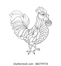 Thin line art cock, doodle style stroke. Vector element for New Year's or Merry Christmas design or antistress coloring book. Vector isolated illustration. Rooster, symbol of 2017 on the Chinese calendar.