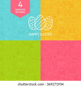 Thin Line Art Happy Easter Pattern Set. Four Vector Website Design and Seamless Background in Trendy Modern Outline Style. Spring Holiday.