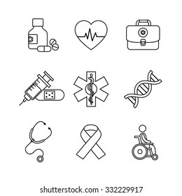 Thin line art icons set. Medical, healthcare and health awareness. Black vector symbols isolated on white.