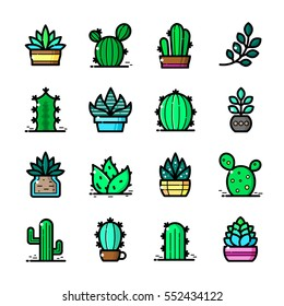 Thin line art Succulent and Cactuses icons set, Plants outline logos vector illustration