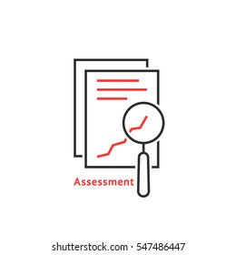 thin line assessment auditing icon. concept of annual taxes, seo, scrutiny info list page evaluation, web analytics service, glass. flat style trend modern logotype graphic design on white background