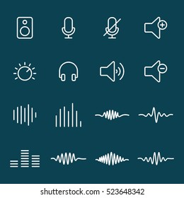 thin line audio icons on blue background