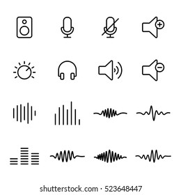 thin line audio icons on white background
