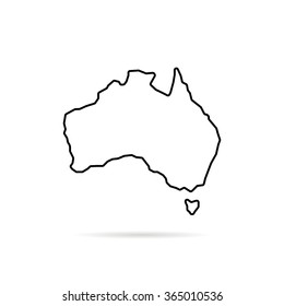 thin line australia map with shadow. concept of land edge, delineation, country outlines, terrain. isolated on white background. flat style trend modern logo design vector illustration