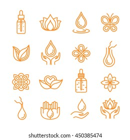 Thin line beauty oils / cosmetics icon set. Vector illustration.