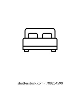 thin line bed icon on white background
